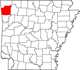 Map of Arkansas highlighting location of Washington County